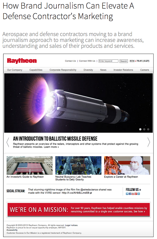 How Brand Journalism Can Elevate A Defense Contractor's Marketing